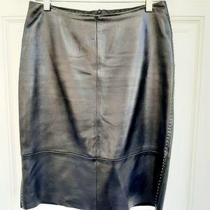 Banana Republic Black Soft Leather Midi Skirt